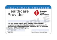 AHA Basic Life Support for Healthcare Providers Certification Card